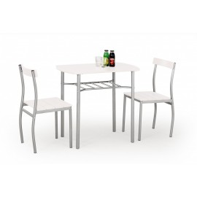 SET DINING - MASA LANCE ALB CU 2 SCAUNE - DESIGN MODERN - HALMAR