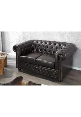 SOFA CHESTERFIELD 9685 CAFENIU INCHIS DESIGN VINTAGE