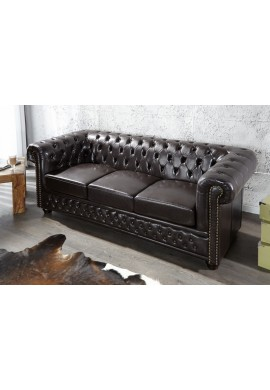 OFERTA DE BLACK FRIDAY!!!!SOFA CAFENIU INCHIS CHESTERFIELD 9686 DESIGN VINTAGE
